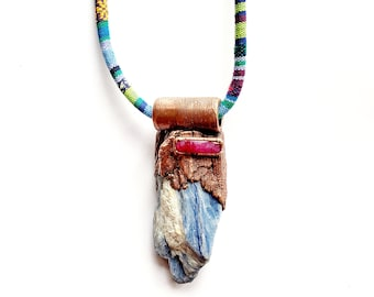 LARGE Blue Kyanite Blade with Faceted Ruby Necklace // Tribal Design Rope Necklace // Electroformed, Copper