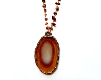 Natural Agate and Copper Necklace // Electroformed, Goldstone Rosary Chain // Natural Stone