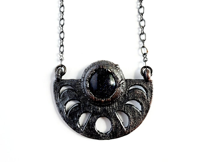 Blue Goldstone Moon Phase Necklace // Electroformed Jewelry // Soldered Gunmetal Chain