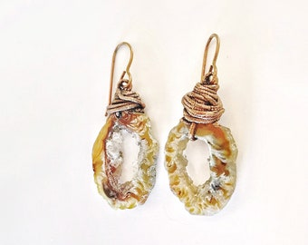 Oco Geode Slice Pair Earrings // Electroformed, Pure Copper // Copper Earwires, Rocks and Minerals, Stones