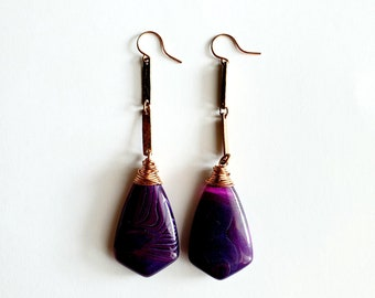Purple Agate with Copper Bar Link Earrings // Copper French Ear Wires // Genuine Stones, Hand Drilled, Hand Wrapped