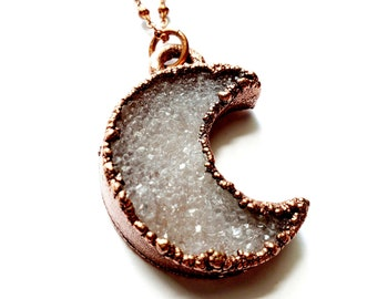 Electroformed Copper Druzy Crescent Moon // Soldered Copper Chain // Goddess, Moonchild