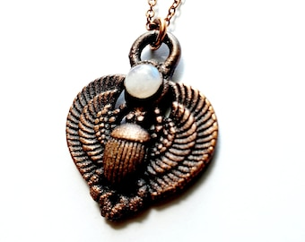 Mythological Egyptian Copper Scarab Beetle // Rainbow Moonstone // Electroformed, Soldered Copper Chain Necklace