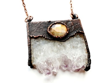 Amethyst Cluster Slab and Faceted Labradorite Necklace// Electroformed Copper, Copper Chain // Gemstone Necklace, Boho Necklace, Boho Chic