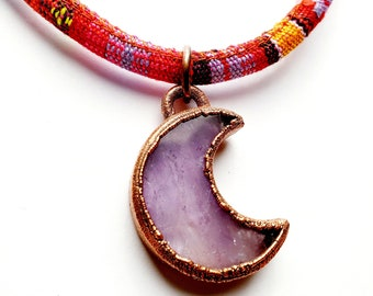 Amethyst and Copper Crescent Moon Pendant on a Southwest Style Stitched Cloth Necklace // Electroformed, Copper // February Birthstone