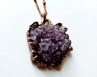 Amethyst Cluster and Copper Pendant // Electroformed, Copper Chain // Gemstone Necklace, Birthstone