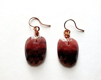 Natural Bi-Color Violet and Mauve Faceted Sapphire Earrings // Copper Ear Wires // Genuine Stones, September Birthstone