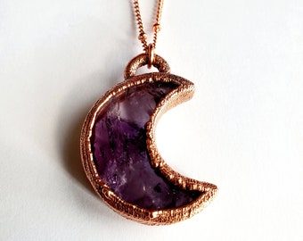 Amethyst and Copper Crescent Moon Necklace // Electroformed, Soldered Copper Chain // February Birthstone, Gemstone