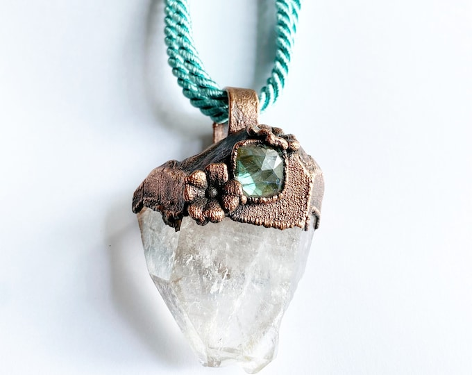 Arkansas Quartz Crystal with Faceted Labradorite Necklace // Electroformed Jewelry // Teal Satin Rope // Off the Chain Collection