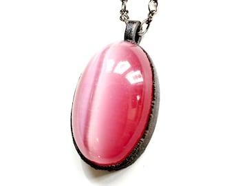Gunmetal Rose Pink Cat's Eye Gemstone Pendant // Electroformed, Soldered Gunmetal Chain