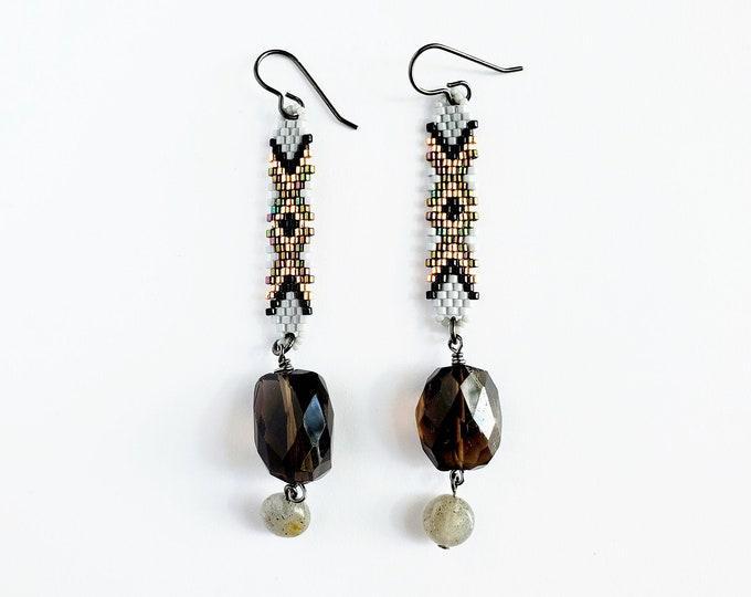 Faceted Smoky Quartz and Labradorite Beaded Drop Earrings // Titanium Ear Hooks, Rocks and Minerals, Stones