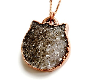 Copper Amethyst Druzy Cat Necklace //Electroformed // Soldered, Copper Chain