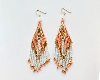 Brick Stitch Long Beaded Earrings with Rainbow Moonstone // Gold Filled Ear Wires, Beaded Earrings, Tassel Earrings