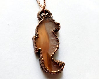 Natural Agate Seahorse Necklace // Electroformed // Copper Chain, Natural Stone