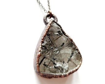 Rutilated Quartz and Copper Necklace // Electroformed, Copper // Soldered Gunmetal Chain // Crystals, Open Back