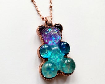 Multicolored Gummy Bear Necklace // Electroformed Copper, Copper Chain // Resin