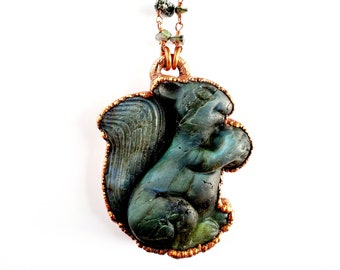 Carved Labradorite Dragon Necklace  Electroformed Jewelry  Faceted Labradorite Beaded Chain  Metaphysical Jewelry