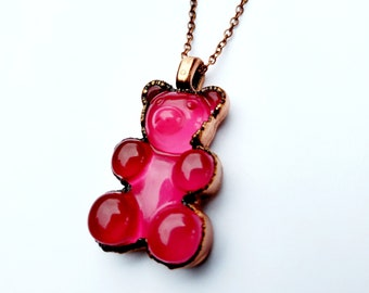 Hot Pink Gummy Bear Necklace // Electroformed Copper, Copper Chain // Resin