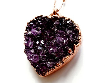 Amethyst Druzy Heart and Copper Pendant // Soldered Copper Chain // Electroformed, Pure Copper