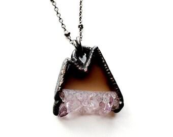 Gunmetal Copper Amethyst Mountain Range Necklace // Electroformed, Gunmetal Chain //
