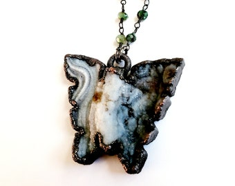 Chalcedony Druzy Butterfly Necklace // Electroformed, Soldered Gunmetal Chain // Sparkly Butterfly