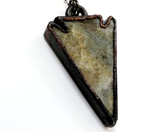 Electroformed Labradorite Arrowhead Necklace // Soldered Gunmetal Chain // Gemstones, Cabochon, Energy