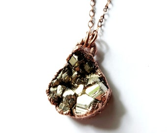 Electroformed Pyrite Necklace // Soldered Copper Chain // Fool's Gold