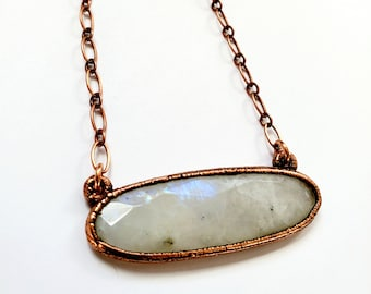 Majestic Faceted Rainbow Moonstone and Copper Necklace // Electroformed, Boho Chic // Copper Chain