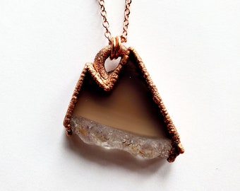 Copper Amethyst Mountain Range Necklace // Electroformed, Soldered Copper Chain