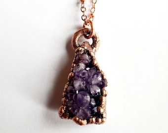 Petite Amethyst Cluster and Copper Pendant // Electroformed, Copper Chain // Gemstone Necklace, Birthstone