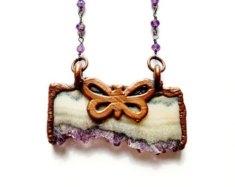 Amethyst Cluster Slab with Butterfly Necklace // Electroformed, Amethyst Beaded Chain // Gemstone Necklace, Boho Necklace, Boho Chic