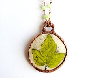 Electroformed Handmade Ceramic Pressed Leaf Pendant // Green Chalcedony Beaded Chain/Soldered Copper Chain // Copper, Nature