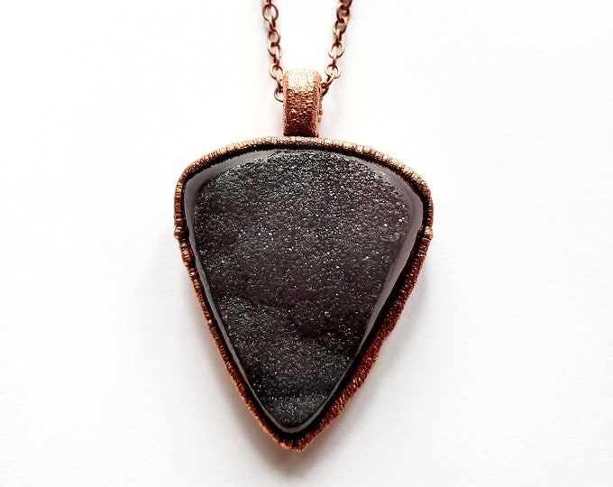 Electroformed Mocha Druzy Necklace // Soldered Copper Chain // Rocks and Minerals, Sparkle