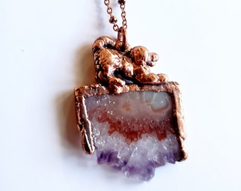 Amethyst Cluster Slab Spaniel Necklace// Electroformed Copper, Copper Chain // Gemstone Necklace, Boho Necklace, Boho Chic