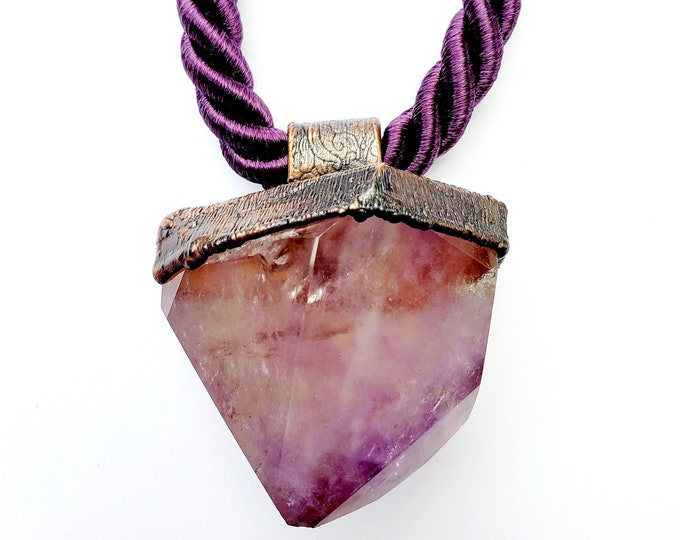 Featured listing image: Off the Chain Collection // Huge Electroformed Rutilated Amethyst Point Necklace // Copper with Gunmetal Patina, Purple Twisted Satin Rope