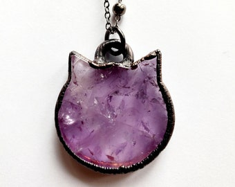 Electroformed Gunmetal Copper Amethyst Cat Necklace // Soldered Gunmetal Chain //