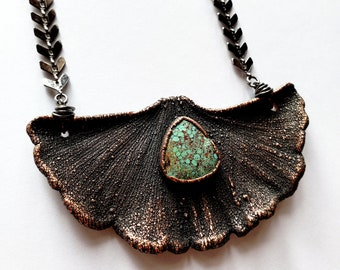 Antique Copper Electroformed Ginkgo Leaf with Turquoise Necklace // Soldered Gunmetal Chevron Chain // Mother Nature