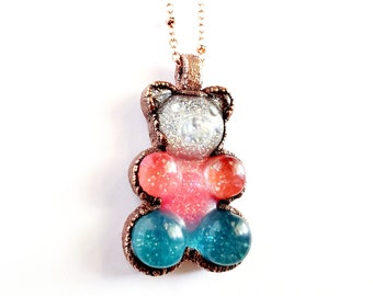 Multicolored Glittery Gummy Bear Necklace // Electroformed Jewelry // Soldered Copper Chain // Resin