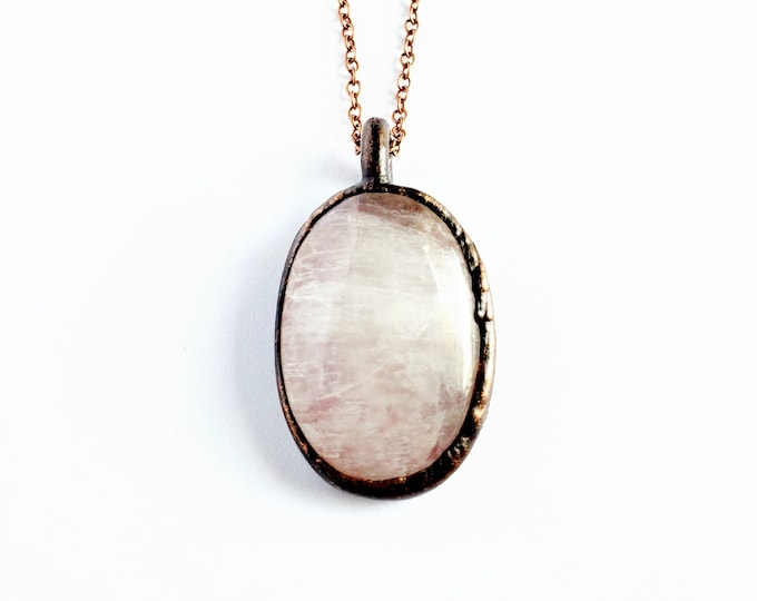 Antique Copper Rainbow Moonstone  Necklace // Electroformed, Boho Chic // Soldered Copper Chain