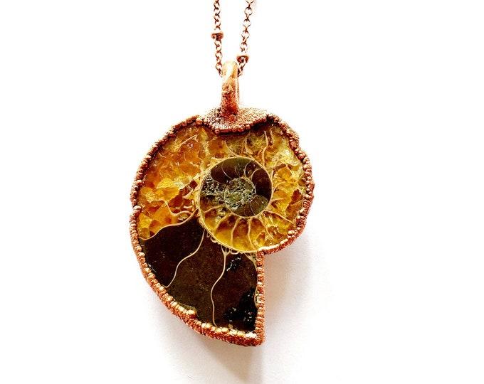 Ammonite Fossil Necklace // Electroformed Copper // Soldered Copper Chain // Extinct, Prehistoric