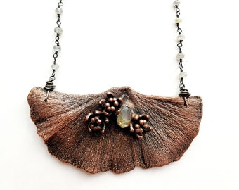 Antique Copper Electroformed Ginkgo Leaf with Labradorite Necklace // Labradorite Beaded Chain // Mother Nature
