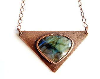 Copper Triangle and Shimmering Green Labradorite // Electroformed, Soldered Copper Chain // Gemstones, Cabochon, Energy