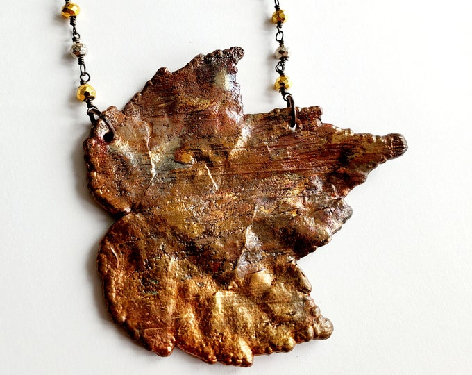 Iridescent Copper Electroformed Maple Leaf Necklace // Pyrite Beaded Chain // Trees, Nature