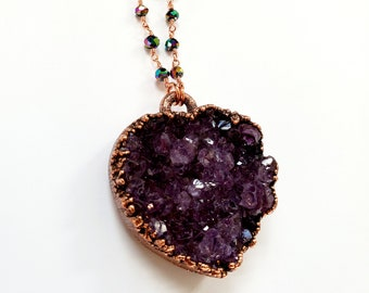 Amethyst Druzy Heart and Copper Necklace // Peacock Hydro Quartz Beaded Chain // Electroformed, Pure Copper