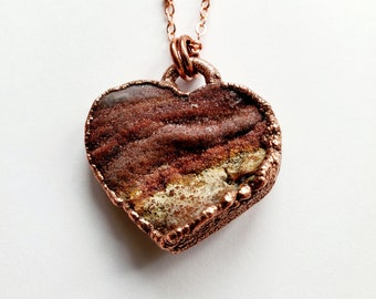 Red Chalcedony Druzy Heart Necklace // Electroformed, Soldered Copper Chain // Sparkly Heart, Valentine's Day