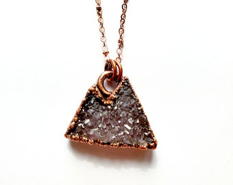 Copper Amethyst Druzy Mountain Range Necklace // Electroformed, Soldered Copper Chain