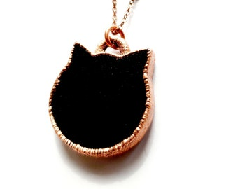 Electroformed Copper Obsidian Cat Necklace // Soldered Copper Chain //