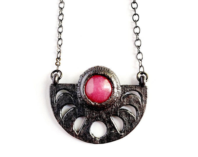Cherry Quartz Moon Phase Necklace // Electroformed Jewelry // Soldered Gunmetal Chain