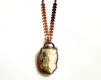 Ocean Jasper Druzy and Copper Necklace // Electroformed, Pure Copper // Soldered Copper Chain