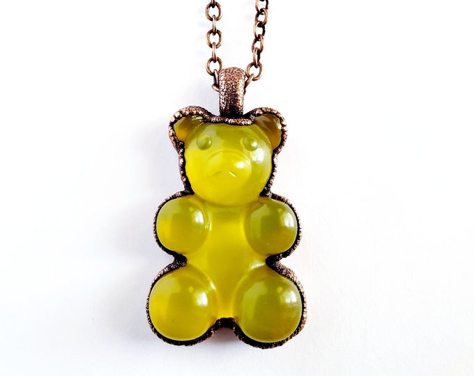 Yellow Gummy Bear Necklace // Electroformed Jewelry // Soldered Copper Chain